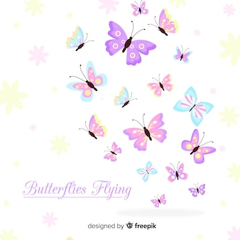 Flat butterflies flying background