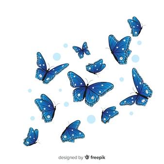 Плоские бабочки летающие фон