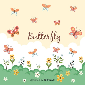 Flat butterflies flying