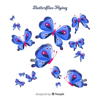 Flat butterflies flying