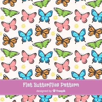 Flat butterflies pattern collection