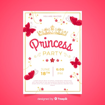 Flat butterflies princess party invitation template
