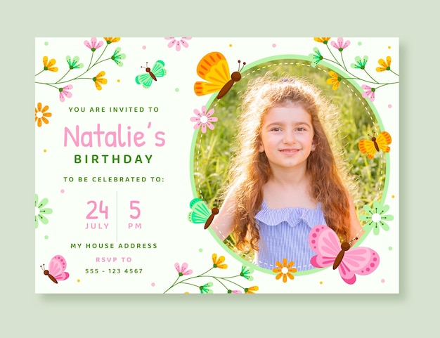 Flat butterfly birthday invitation template with photo