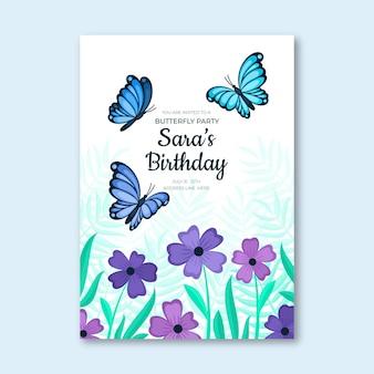 Modello di invito compleanno farfalla piatta