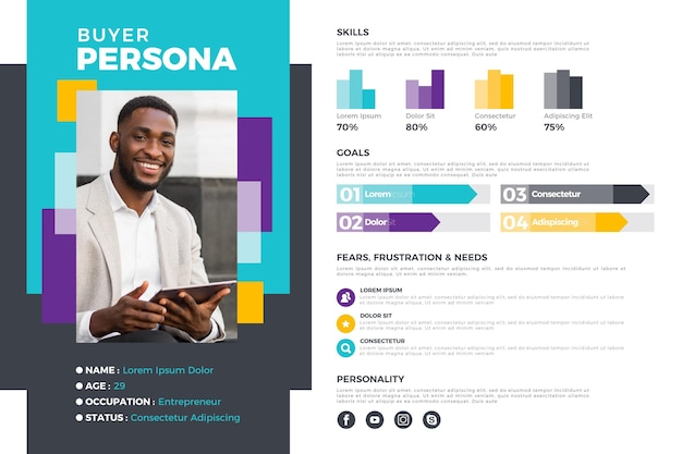 Flat buyer persona infographics with photo of man