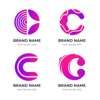 Flat c logo template collection