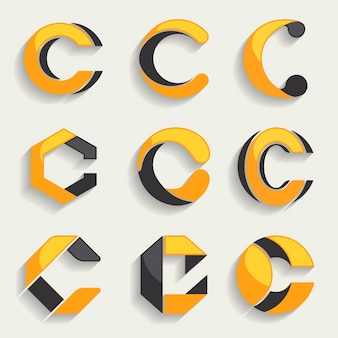 Flat c logo templates collection