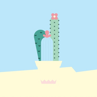 Flat cactus background vector illustration