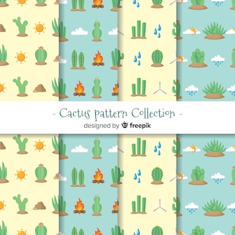Flat cactus pattern collection