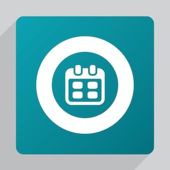 Flat calendar icon, white on green background