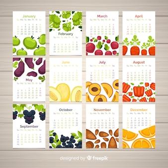 Flat calendar of seasonal vegetables and fruits