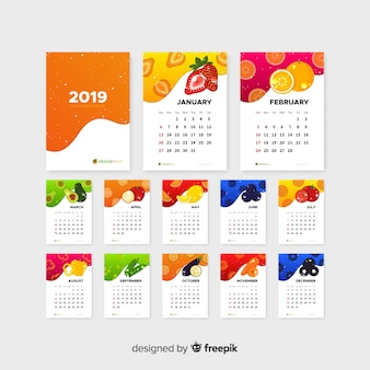 Flat calendar of seasonal vegetables and fruits