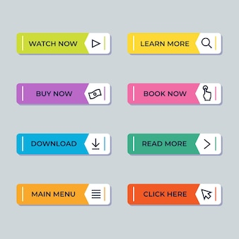 Flat call to action button pack