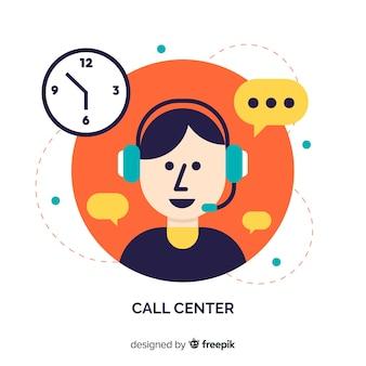 Design dell'agente call center flat
