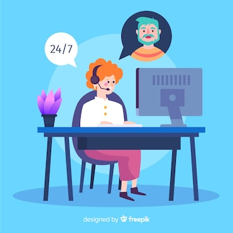 Flat call center concept background