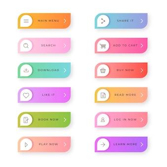 Набор плоских кнопок с призывом к действию