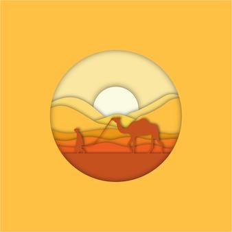 사막에서 플랫 낙타