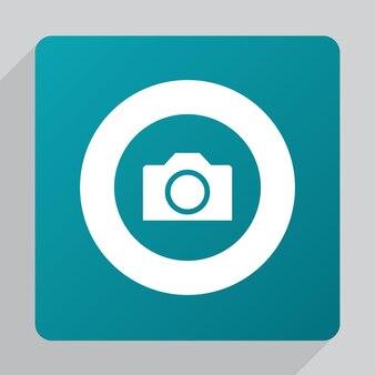 평면 카메라 아이콘, 녹색 배경에 흰색