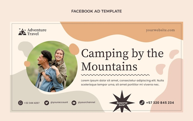 Flat camping by mountains template