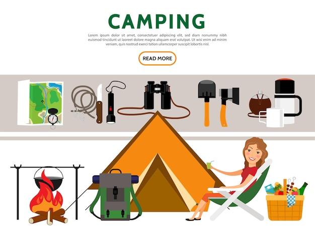 Insieme di elementi di campeggio piatto