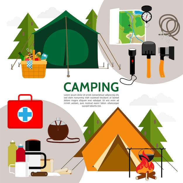 Flat camping icons composition