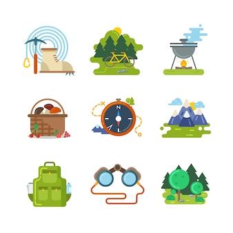 Плоский кемпинг открытый векторные иконки. туристическая деятельность, оборудование и приключенческая иллюстрация