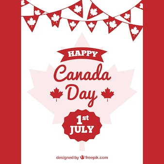 Flat canada day background with garlands