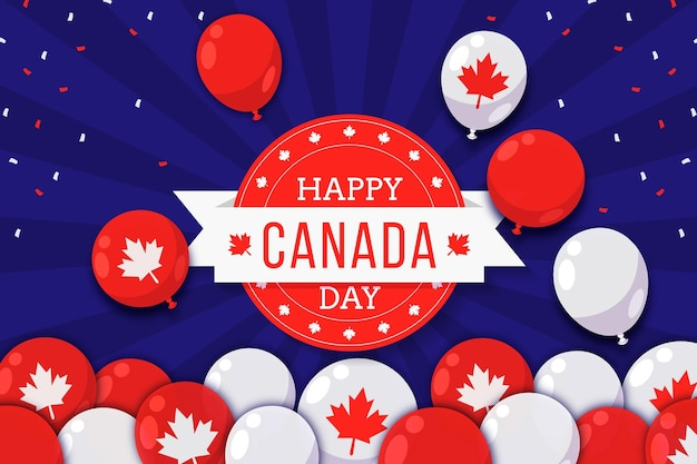 Flat canada day balloons background