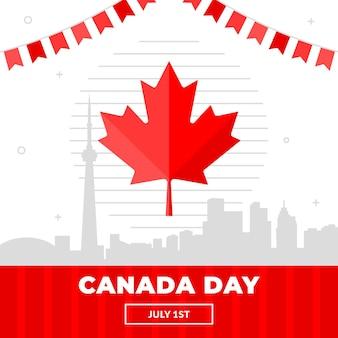 フラットカナダの日のお祝いのイラスト