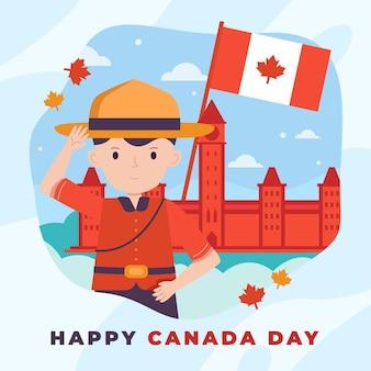Плоская иллюстрация празднования дня канады