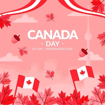 Flat canada day illustration