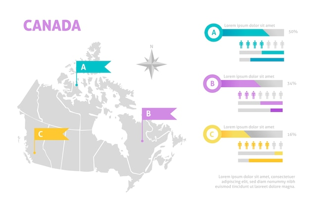 Плоская карта канады инфографики