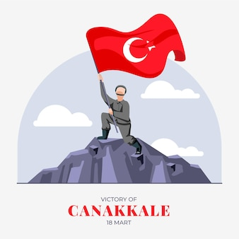 Flat canakkale illustration