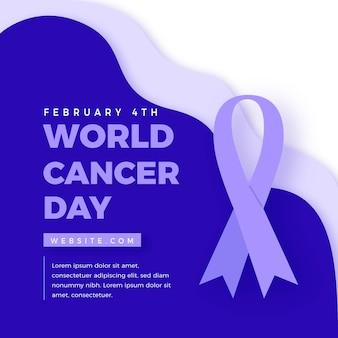 Nastro e testo piatto del giorno del cancro