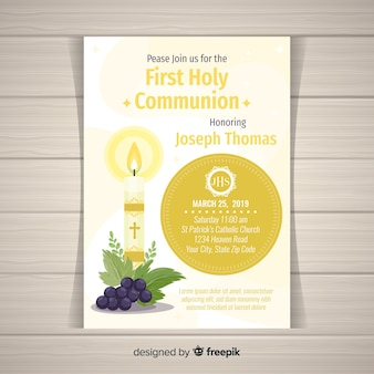 Flat candle first communion invitation