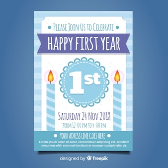 Flat candles first birthday card