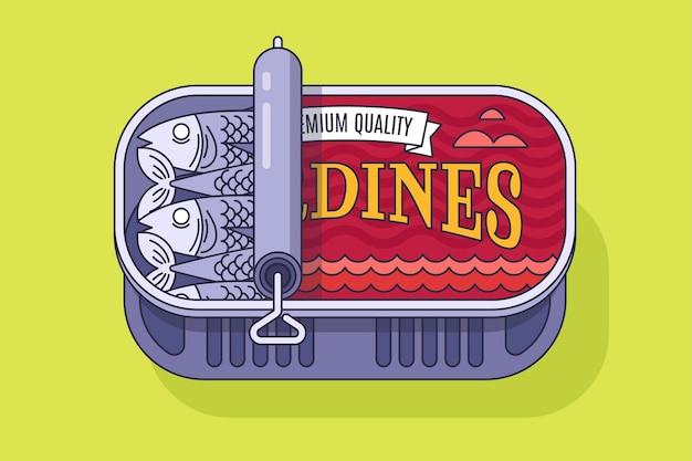 Illustrazione di sardine in scatola piatta