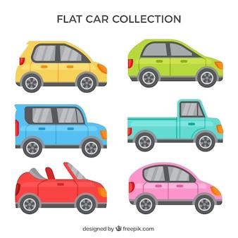 Collezione di auto piatto