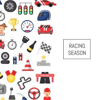 텍스트에 대 한 장소 플랫 자동차 경주 아이콘 배경