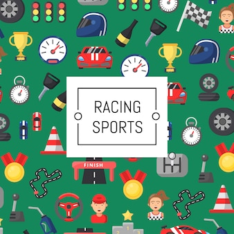 Flat car racing icons background with place for text