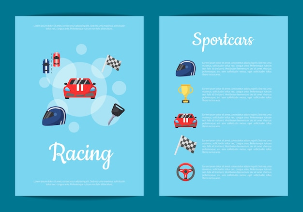 Flat car racing icons card or flyer