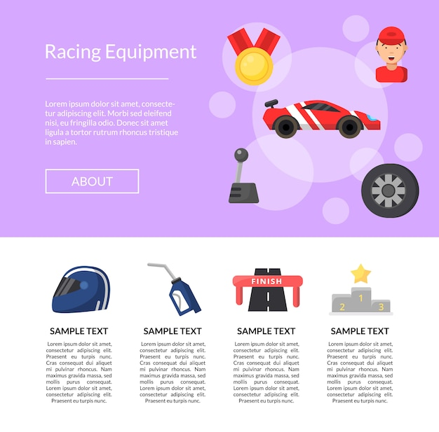 Шаблон страницы иконки гоночный автомобиль