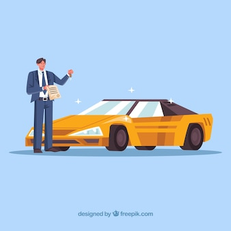 Flat car salesman with contract document