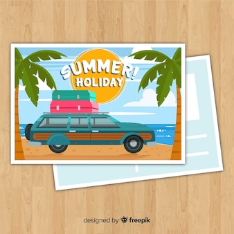 Flat car summer postcard