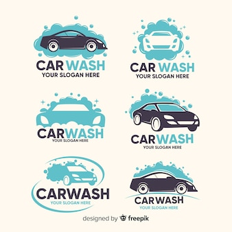 Flat car wash logo collection