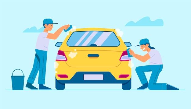 Плоская иллюстрация концепции обслуживания автомойки