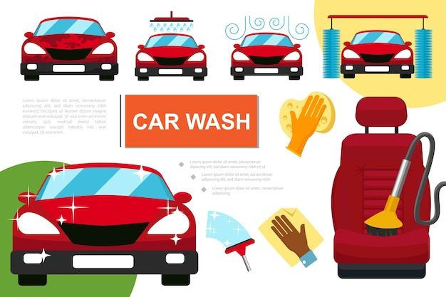 Composizione servizio lavaggio auto piatto