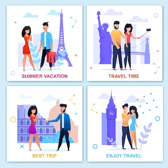 Время путешествовать летом мотивационный flat card set. отпуск и отдых. путешествие по европе. мультяшный векторные люди посещают достопримечательности, принимая selfie, ходьба, встреча, помолвка иллюстрации