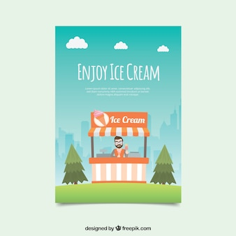 Flat card with man selling ice creams
