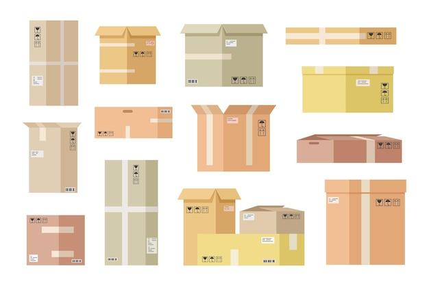 평평한 판지 상자. 종이 상자, 배송 패키지를 엽니 다. 상자 상자 배달 및화물 소포 우편. 벡터 선박 및 저장 포장 세트. 카톤 보관, 운송화물 포장 그림